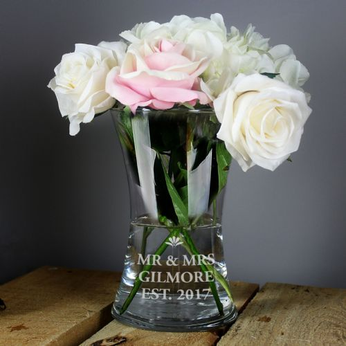 Personalised Bold Font Wide Glass Vase